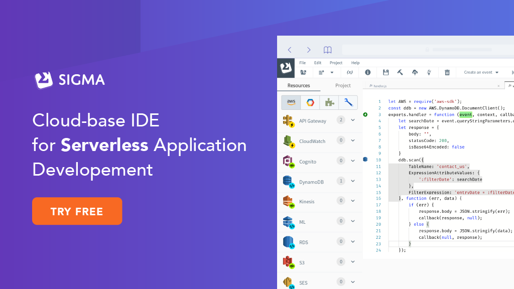 Cloud Based IDE for Serverless Application | Sigma IDE
