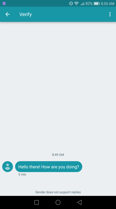 Sample SMS message