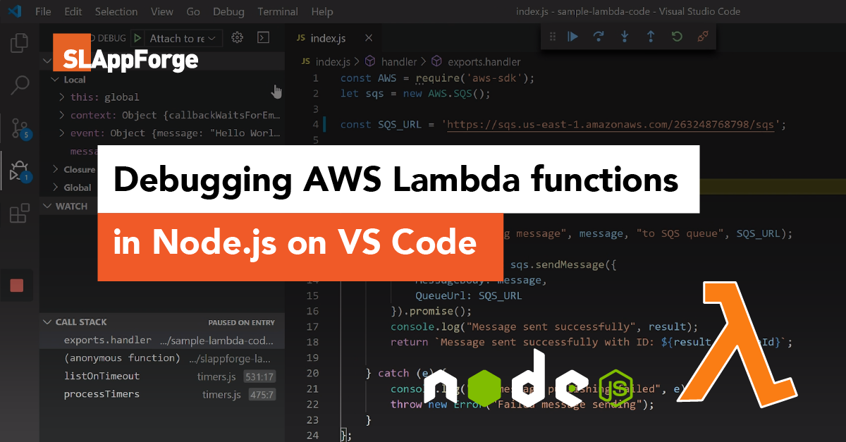 AWS Lambda debugging on VS Code